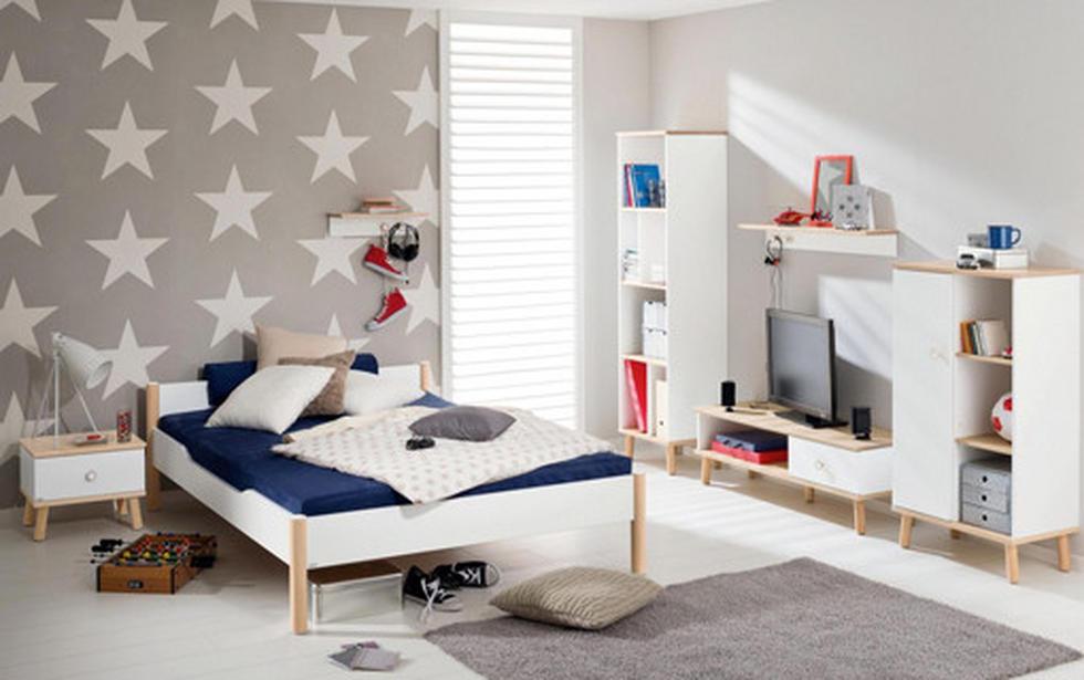 Moderna postelja z delovnim kotičkom