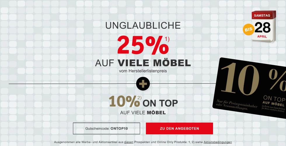 Unglaubliche 25 Prozent auf viele Moebel + 10 Prozent On Top