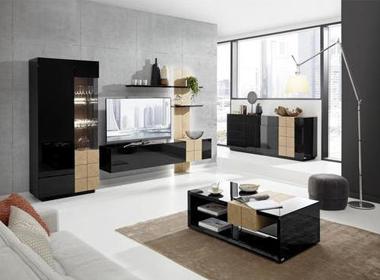 Moderna dnevna soba z dodatki v črni barvi