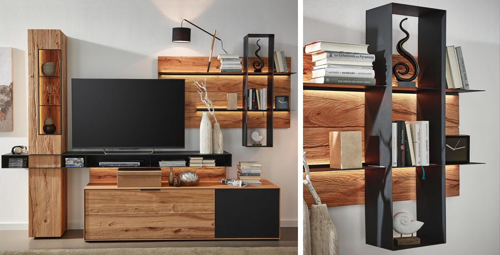 Wohnwand holz  Natur pur: Holz im Wohnzimmer