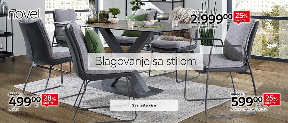 Moderne stolice i blagovaonski stol za blagovaonicu Lesnina XXXL