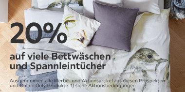 20% auf viele Bettwäschen und Spannleintücher