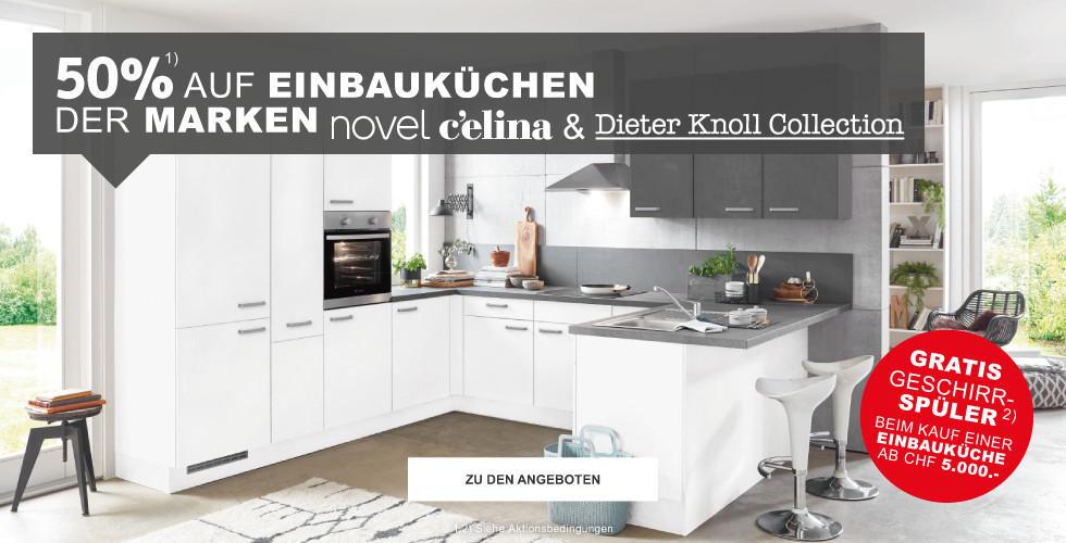 50% auf Einbaukuechen der Marken novel, Celina & Dieter Knoll Collection + Gratis Geschirrspüler bei Kauf einer Einbaukueche ab 5000 CHF