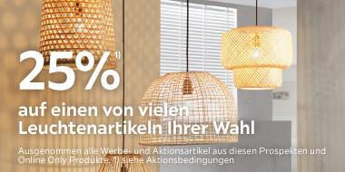 25% auf einen von vielen Leuchtenartikeln Ihrer Wahl