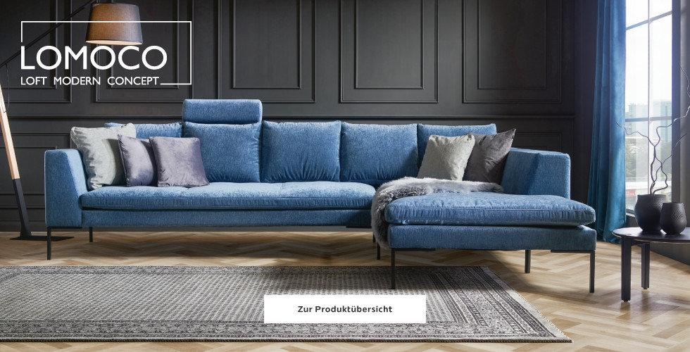 Lomoco Wohnzimmer Wohnlandschaft Blau