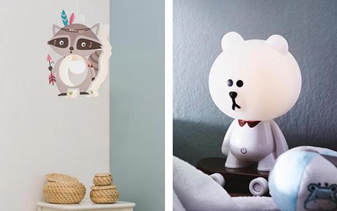 Kinderleuchte Waschbär und Bär