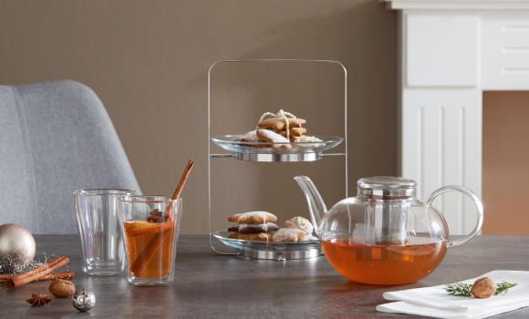 Tea-Time Tee Teegeschirr Glas Kekse