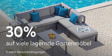 30% auf lagernde Gartenmöbel