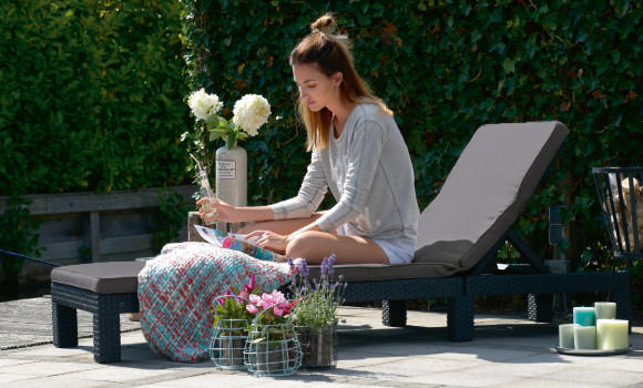 Gartenmöbel Kunststoffgeflecht Gartenliege Braun Terrasse