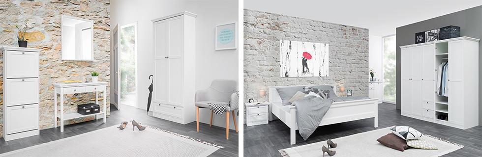 bijeli namještaj predsoblje i spavaća soba