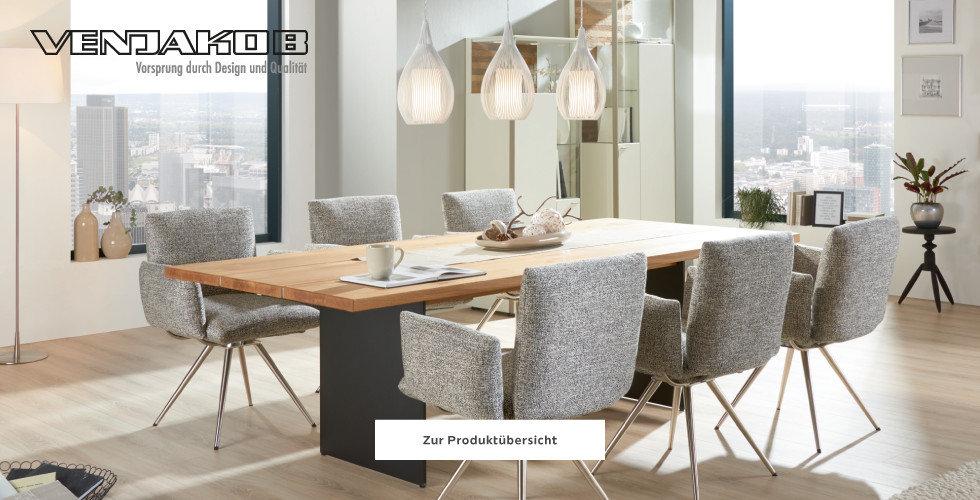 Venjakob Esszimmer Esstisch Holz Schwarz Sessel Grau Weiß