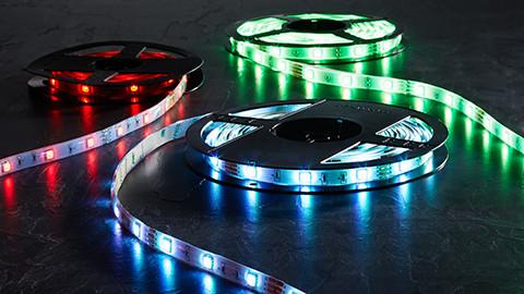 LED-Stripes in blau grün und rot