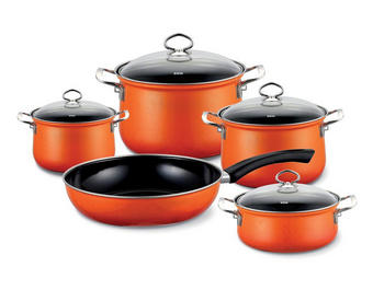 KOCHTOPFSET 5-teilig - Klar/Orange, Basics, Glas/Metall (48,50/28,50/39cm) - Riess