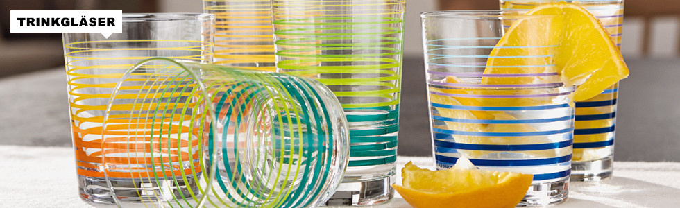 Trinkgläser in bunten Farben zu günstigen Preisen