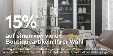 15% auf einen von vielen  Boutiqueartikeln