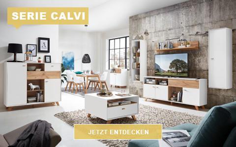 Wohnzimmer Calvi Skandi weiß eichefarben