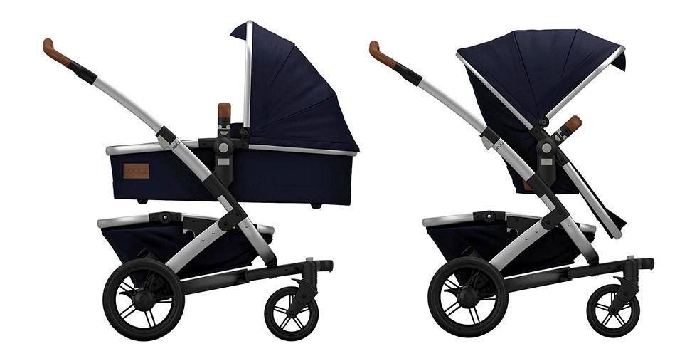 Kombikinderwagen blau mit Babywanne und Buggyaufsatz