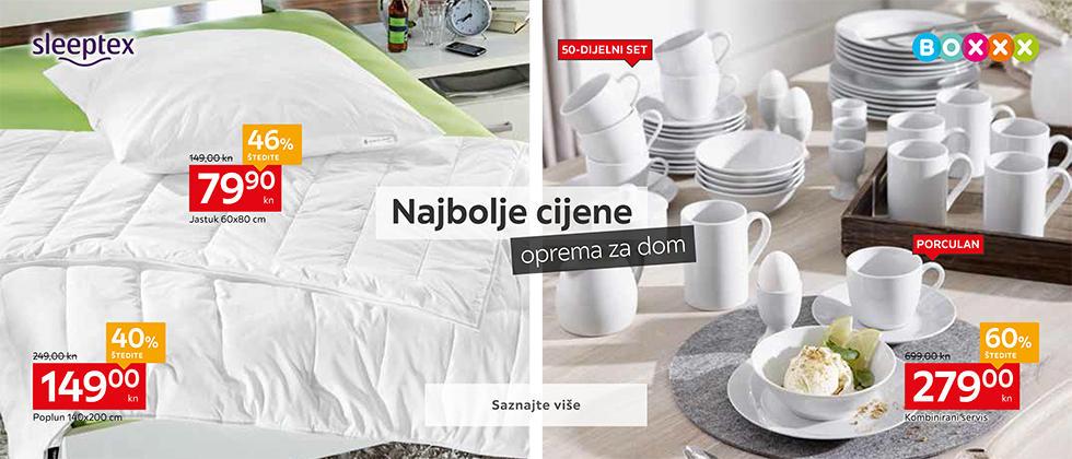 Kvalitetan jastuk i poplun i kombinirani servis za jelo Lesnina XXXL