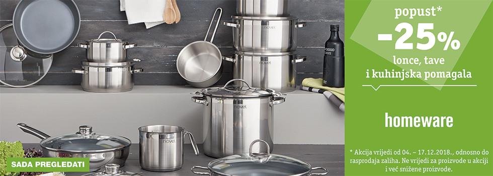 25% popusta na lonce, tave i kuhinjska pomagala robne marke Homeware XXXL Lesnina