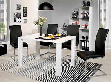 Bijeli elegantni blagovaonski stol i crne moderne stolice XXXL Lesnina