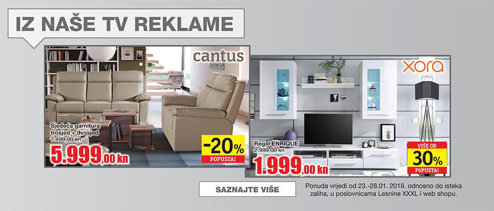 Bež relax garnitura i bijeli regal iz naše tv reklame