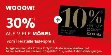 30% auf viele Möbel vom Herstellerlistenpreis (+ONTOP 10)