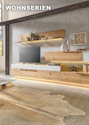 Wohnserien Wohnzimmer Braun Grau Weiß Fernseher Dekoration Teppich