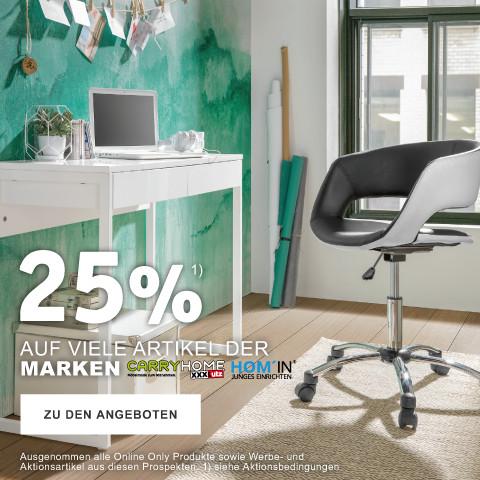 25% auf viele Artikel der Marken Carryhome und Homin