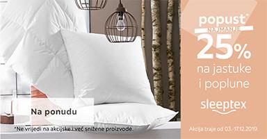 25% popust na jastuke i poplune Sleeptex