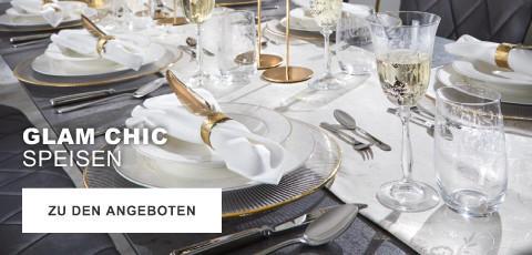 Glam Chic Speisen Weiß Gold Teller Besteck Geschirr Gedeck Festlich