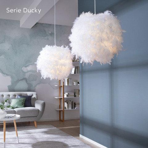 Leuchten Serie Ducky Federn Weiß Grau Blau