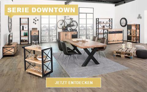 Wohnzimmer Downtown Industrial schwarz Eiche