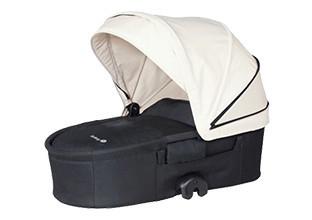 Babywannenaufsatz mit weißem Dach für Kombikinderwagen.