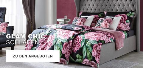 Glam Chic Schlafen Bettwäsche Blumen Rosa Grau Schwarz Gold Schlafzimmer