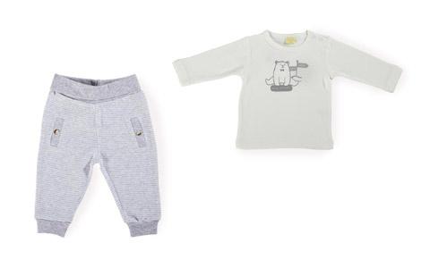 Babyhose in grau und Babyshirt mit Bärmotiv von PATINIO