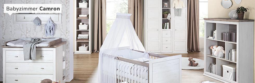 Babyzimmer Camron Buche massiv grau weiß
