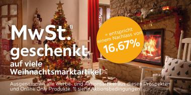 MwSt. geschenkt auf viele Weihnachtsmarktartikel
