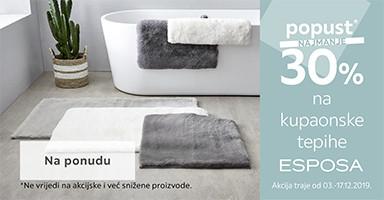 30% popust na kupaonske tepihe esposa