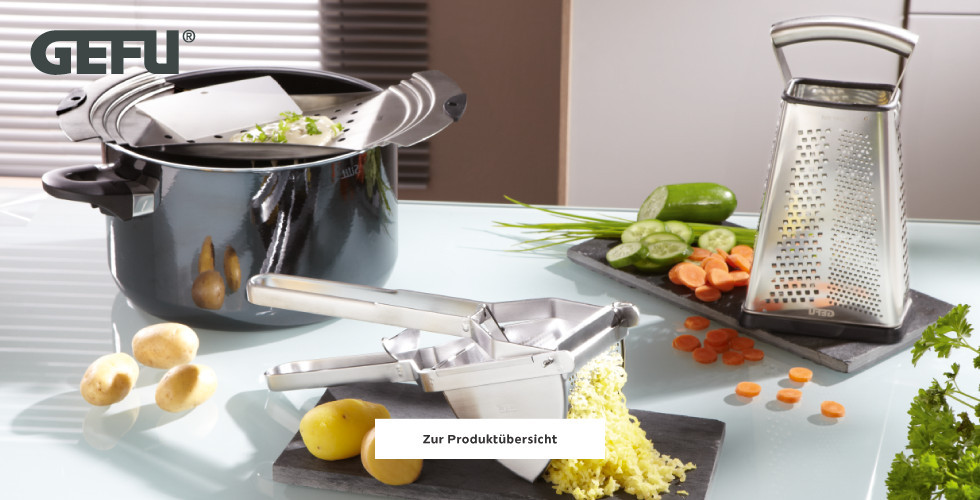 Gefu Küchenhelfer Kartoffelpresse Reibe Spätzlereibe
