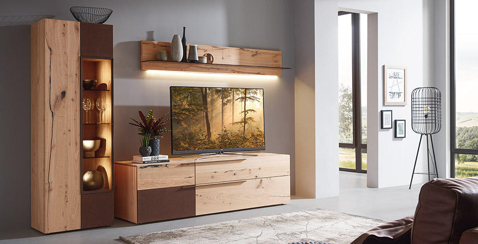 Wohnwand komplett aus Holz