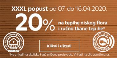 20% na tepihe niskog flora i ručno rađene tepihe