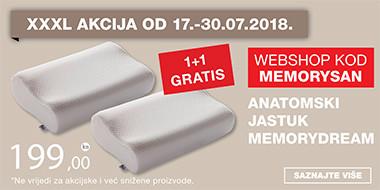 Anatomski jastuk Memory dream 1+1 gratis u Lesnini