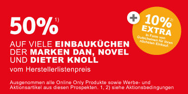0% auf Dan, Dieter Knoll und Novel Einbauküchen vom Herstellerlistenpreis + 10% Extra