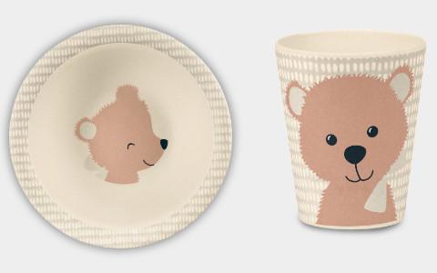 Kindergeschirr Bär Teller und Becher