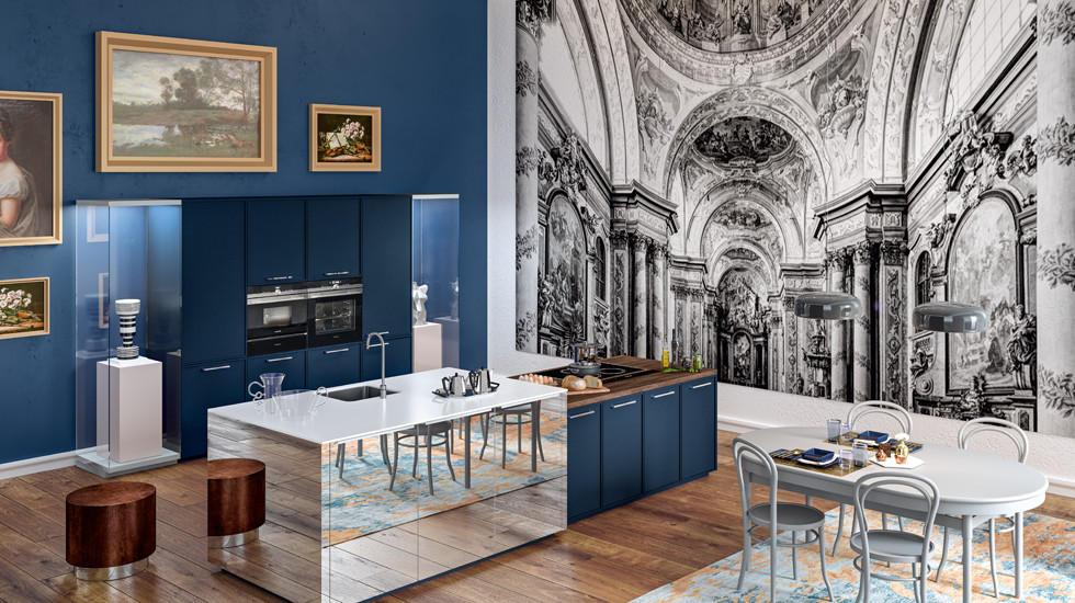 moderne blaue Küche