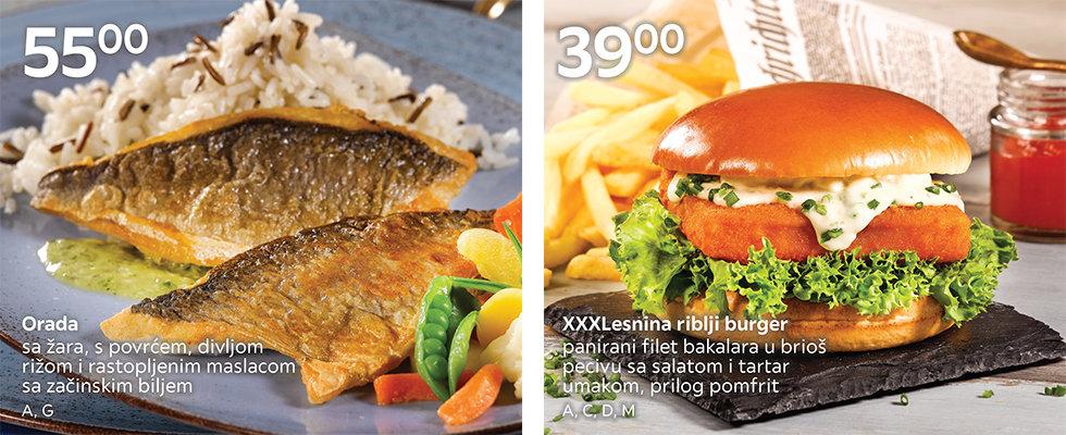 Orada sa žara s povrćem i XXXLesnina riblji burger