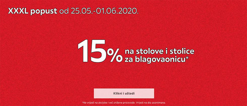15% popusta na stolove i stolice za blagovaonicu