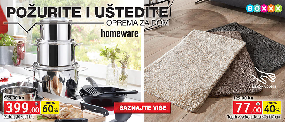 set posuđa i čupavi tepih