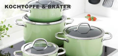 Kochtoepfe und Braeter in mintgruen
