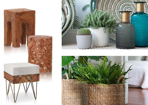 Hocker, Körbe und Vasen in frischen Farben und Boho Materialien
